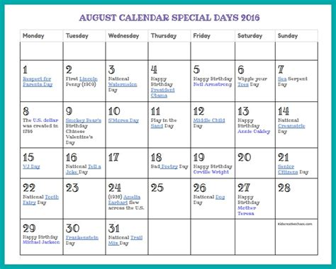 Day 0 Calendar August Calendar Printable Special Days Creative Chaos