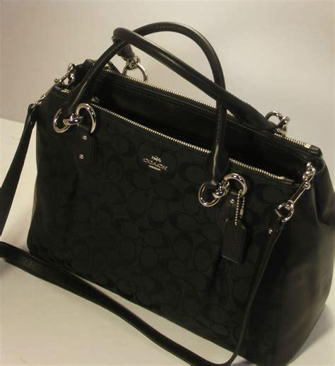Coach Bag Sullivan Signature Black Nwt Tas Coach Original nwt coach 12cm signature colette carryall handbag purse f36376 sv black black coaches