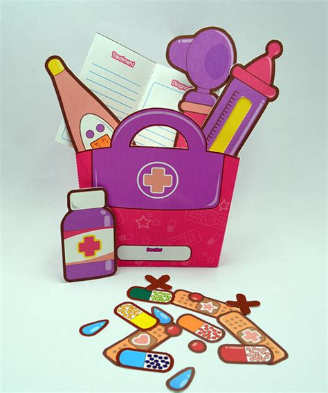 Paper Craft Kits - purple pink doctor s kit printable paper craft pdf