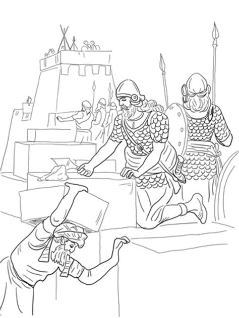 free bible coloring pages ezra nehemiah builds the walls and tower of jerusalem coloring