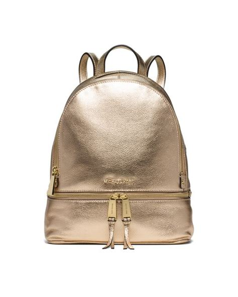 Ready Mk Rhea Backpack Brown Leather Medium michael kors rhea medium metallic leather backpack in gold pale gold lyst