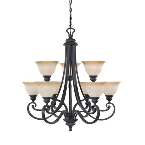 Chandeliers Iron Designers Monte Carlo 9 Light Hanging Iron Chandelier 96189 Ni The Home Depot