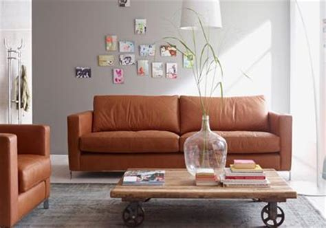 elegante sofas couch aus leder  cognacbraun bild