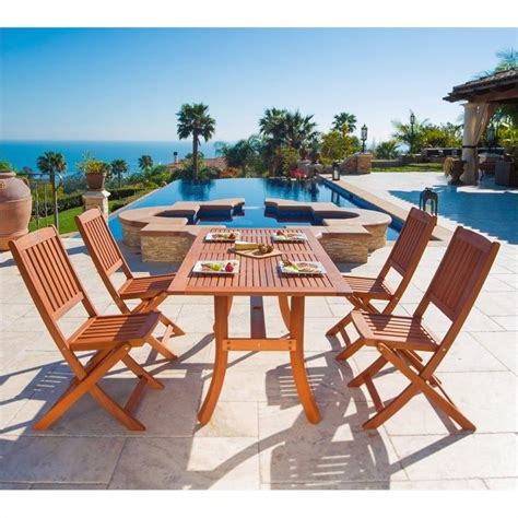 Wooden Patio Dining Sets 5 Wood Patio Dining Set V189set3