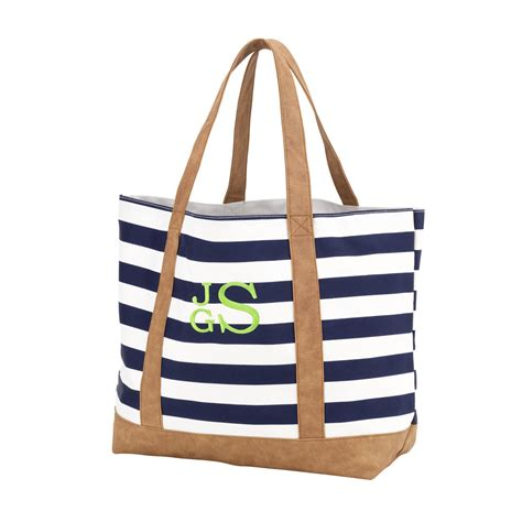 sawyer navy white stripe monogrammed tote bag