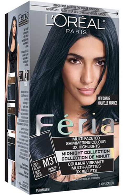 loreal blue hair dye best l or 233 al feria midnight m31 cool soft black hair