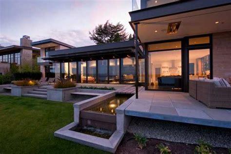 contemporary home decorating large modern house design with water features inspired by