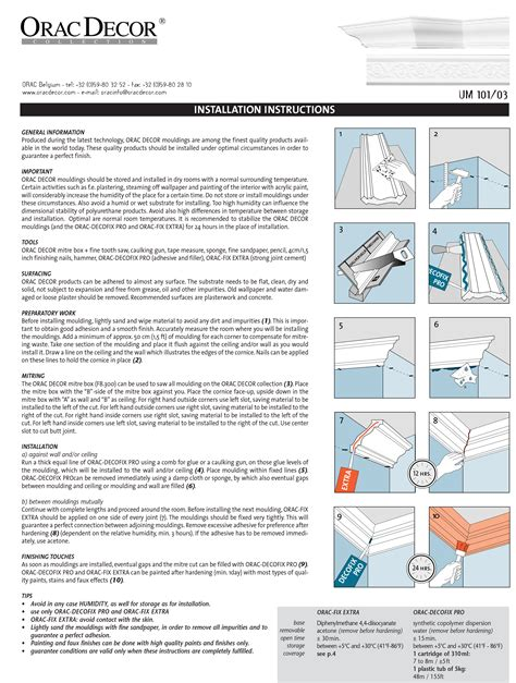 cornice installation load brochures