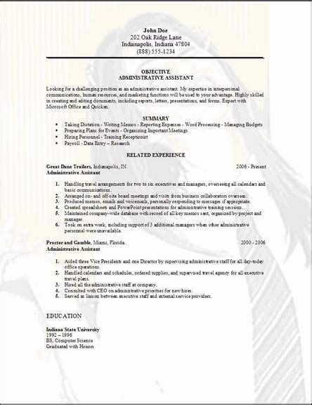Administrative Assistant Resume Exles Sles Free Edit With Word Administrative Resume Templates Free