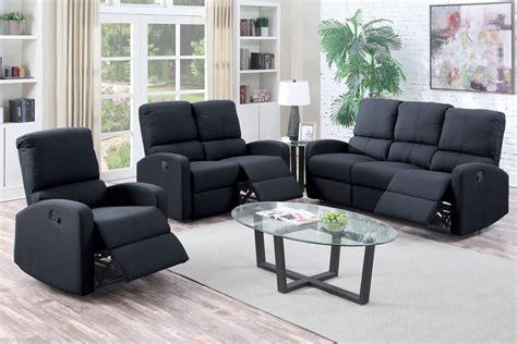 Black Reclining Sofa Set Poundex Recliner Sofa Set Black Modern F6735 Sectionals