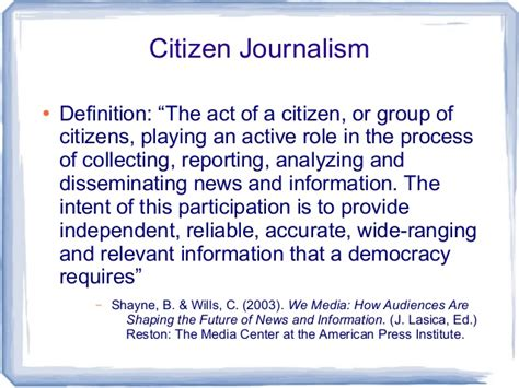Journalism Definition by Citizen Journalism