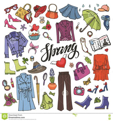 doodle do children s clothing fashion colored womens wear stock vector
