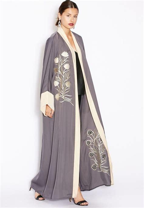 Kaftan Abu Abu shop hayas closet grey one side embroidered abaya for in uae abayas kaftan s jalabiya