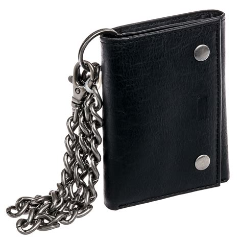 levi s s black leather snap id trifold attached chain