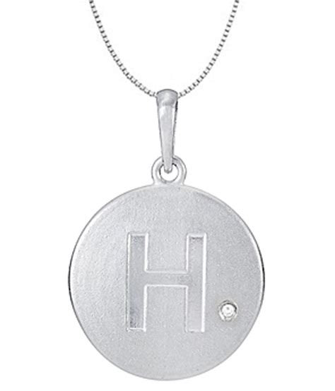 14k white gold block initial h disc pendant with 0 005 carat single 16 inch necklace