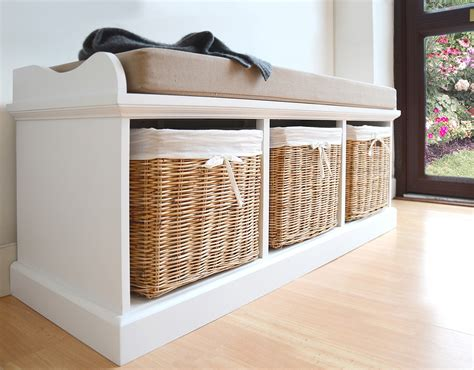 storage bench with cushion and baskets tetbury bench with cushion and storage baskets