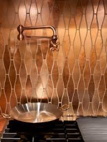 stunning copper backsplash for modern kitchens decozilla kitchen with sparkling penny tile