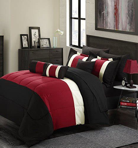 red queen size comforter 11 piece oversized red black comforter set queen size