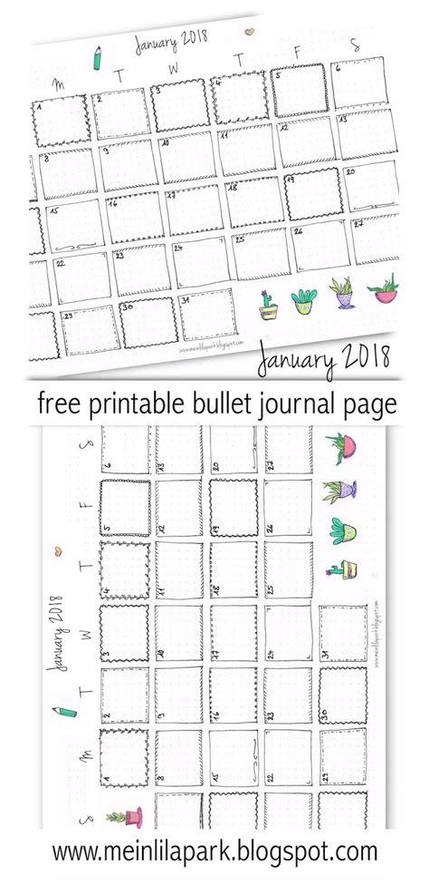 printable calendar 2018 bullet journal free printable 2018 calendar page january 2018 bullet
