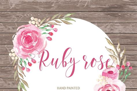watercolor ruby clipart watercolor flower pink