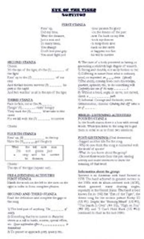 printable lyrics eye of the tiger english teaching worksheets other listening worksheets