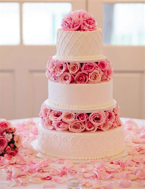 Pink Flower Wedding Cake by 28 Inspirational Pink Wedding Cake Ideas