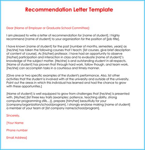 recommendation letter for student from teacher template recommendation letter 20 sles fromats