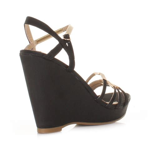 black wedge heel sandals womens xti black strappy peep toe mid wedge heel sandals