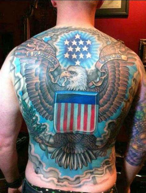 usa tattoo patriotic usa eagle symbol on back