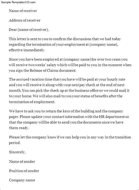 At Will Employee Termination Letter by Doc 1600900 Employee Termination Letter Bizdoska