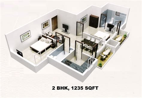 foundation dezin decor 3d view of 1bhk 2 bhk