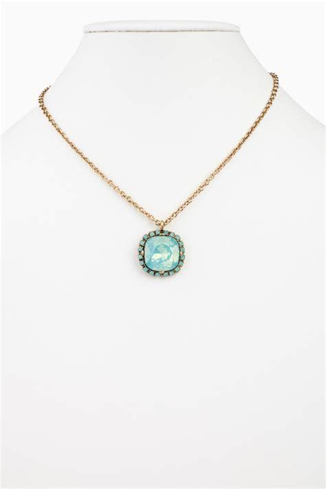 mint green square jeweled pendant neckalce