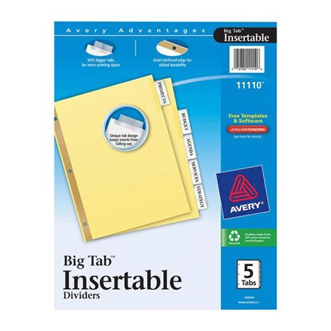 Avery Big Tab Inserts For Dividers 8 Tab Template avery 11110 big tab insertable dividers 8 1 2 x 11 quot 5