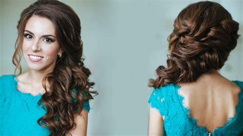 Curly Hairstyles To The Side For Wedding by Side Swept Curls Wedding Prom Hairstyles Tutorial