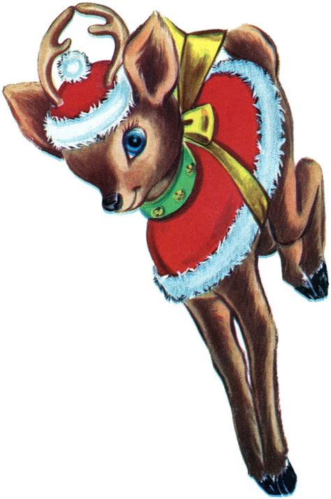 retro christmas reindeer image  graphics fairy