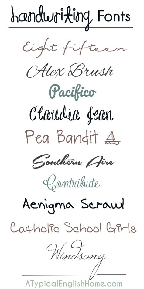 a typical home best handwriting fonts