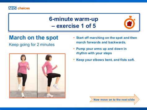nhs choices home workout 6 minute warm up exercises