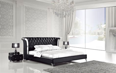 Modern White Leather Bedroom Furniture by White Leather Bed With Nightstands Ae293 Modern Bedroom