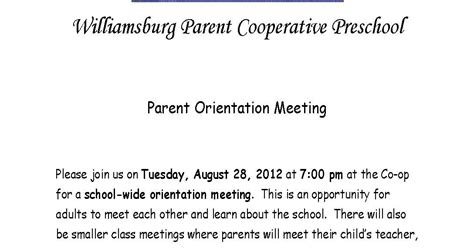 Parent Letter N1 Upcoming Events Parent Orientation Meeting August 28 2012