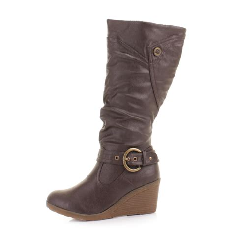 womens brown mid wedge heel knee high boots size 3 8 ebay