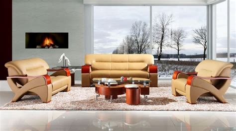 Bonded Leather Sofa Set With Wooden Armrests Fresno Designer Living Room Sets