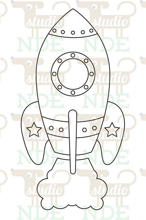 Rocket Card Template by Digital St Space Rocket Spaceship Printable Line
