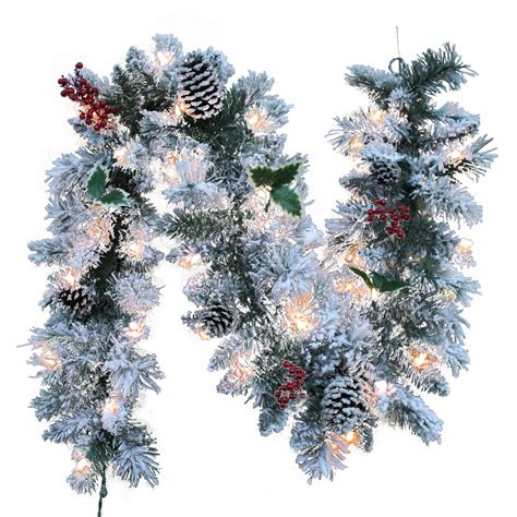 trim a home 174 flocked pre lit garland with clear lights 6 ft