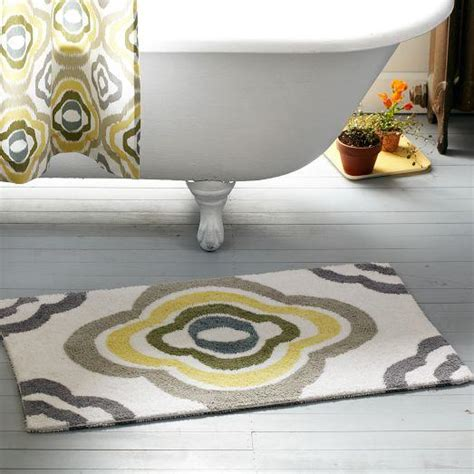 Yellow And Gray Bathroom Rug Floral Ikat Bath Mat West Elm