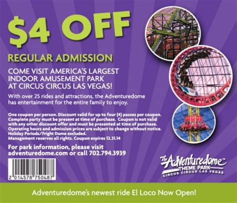 theme park coupons the adventuredome at circus circus las vegas 4 off