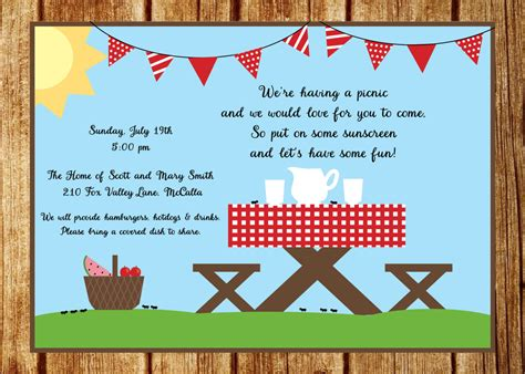 Picnic Invitation Templates Cloudinvitation Com Invite Template