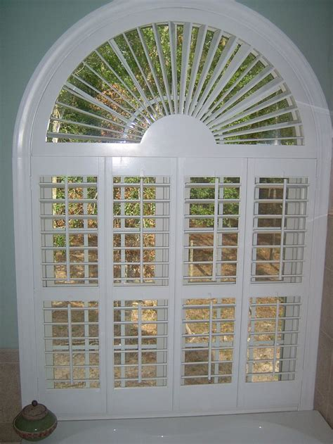 arch window shutters interior 3 1 2 quot plantation shutters with sunburst arch
