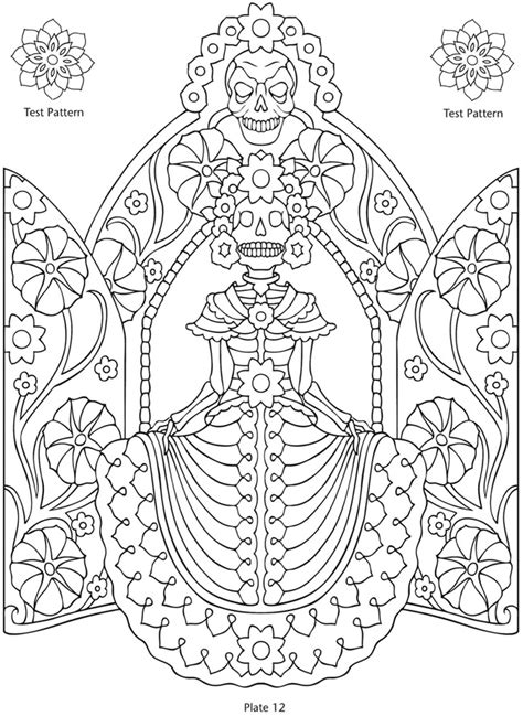dia de los muertos couple coloring pages welcome to dover publications