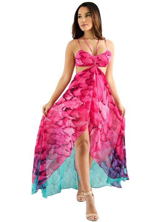 fuchsia color dress fuchsia multi color feather print charming wear