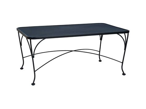 Woodard Micro Mesh Wrought Iron 48 X 36 Rectangular Coffee Rod Iron Patio Table